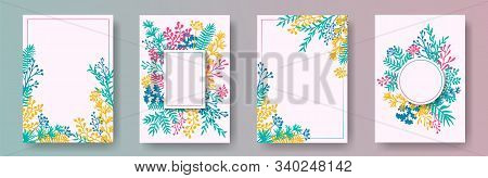 Tropical Herb Twigs, Tree Branches, Flowers Floral Invitation Cards Set. Bouquet Wreath Retro Cards