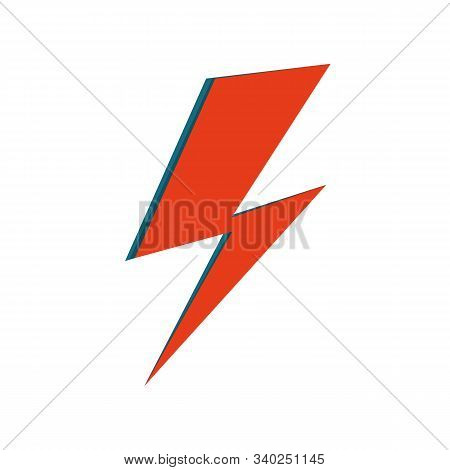 David Bowie Ziggy Stardust Red Flash. Hand Drawn Vector Illustration Of Isolated Lightning For Logo,