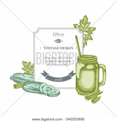 Badge Design With Pastel Greenery, Smothie Jars, Cucumber, Celery Stock Illustration