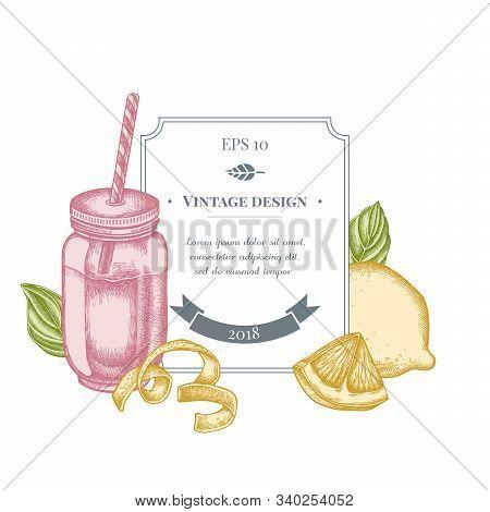 Badge Design With Pastel Lemons, Basil, Smothie Jars Stock Illustration