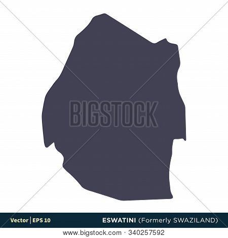 Eswatini (formerly Swaziland) - Africa Countries Map Icon Vector Logo Template Illustration Design.