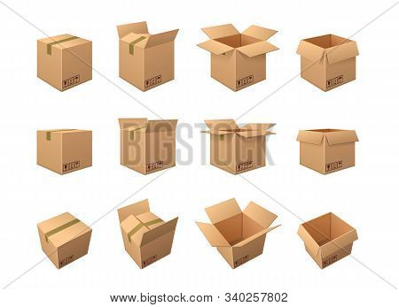 Large Set Of Twelve Different Brown Cardboard Packing Boxes Showing It Taped Shut, Partially Opened