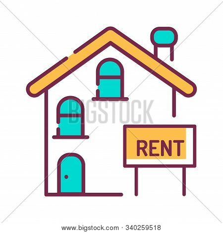 Rental Of Property Color Line Icon. An Agreement Where A Payment Is Made For The Temporary Use Of Pr