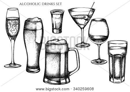 Vector Set Of Hand Drawn Black And White Glass, Mug Of Beer, Alcohol Shot, Glass Of Champagne, Glass