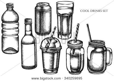 Vector Set Of Hand Drawn Black And White Glass, Plastic Bottle, Bottle Of Lemonade, Smoothie Cup, Al