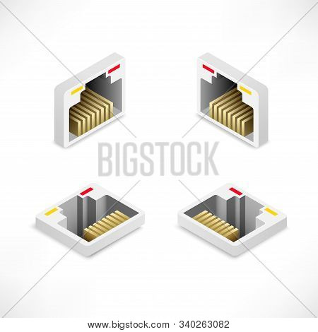 Isometric Ethernet Port Set Isolated On White Background. Network Socket Icon, Wireless Wi-fi Router