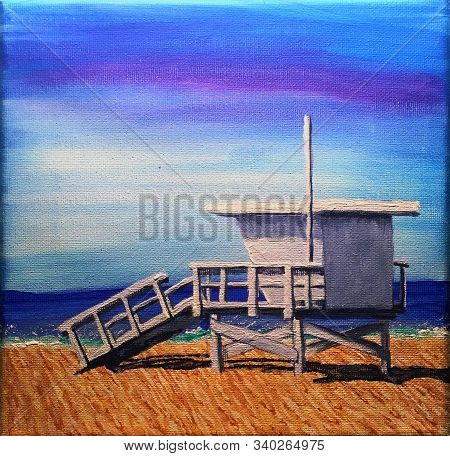 Acrylic Painting On Canvas Of A Lifeguard Station In Hermosa Beach