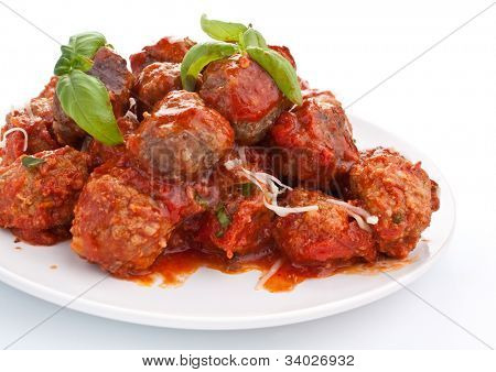 meatballs in tomato sauce on white background