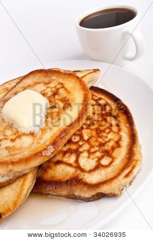 stack of pancakes with syrup and melted butter poster