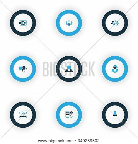 Business Management Icons Colored Set With Problem Solving, Businessman, Office Chair And Other Ergo