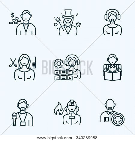 Person Icons Line Style Set With Driver, Illusionist, Operator Woman And Other Steering Elements. Is