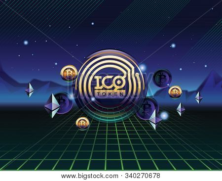 Ico - Initial Coin Offering. Ico Token Concept. Ico In 80s Style. Gold Token On 3d Virtual Graphical