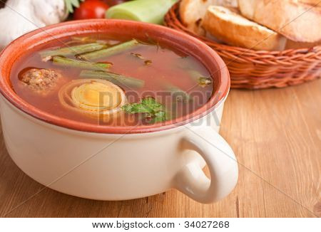vegetable soup with meatballs, leek and green beans