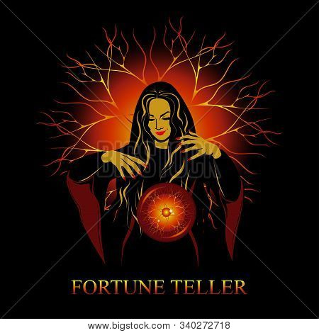 Vector Image Of A Witch Conjures With A Magic Ball. Witch On A Background Of Lightning And A Ball Of