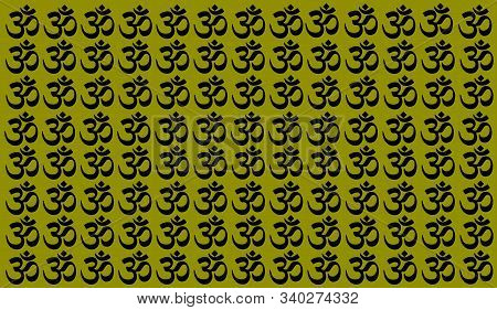 Green Background With Traditional Indian Symbols: Mantra, Om, Ganesh. Seamless Pattern With Spiritua