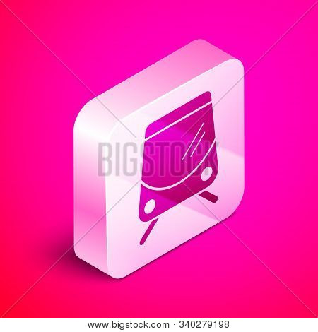 Isometric Tram And Railway Icon Isolated On Pink Background. Public Transportation Symbol. Silver Sq
