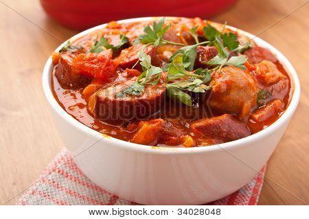 sausage, chorizo and bean stew