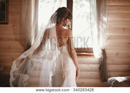 Beautiful Bride In A Dress Turned Her Back On The Camera. Beautiful Bride With Fashion Veil. Tender