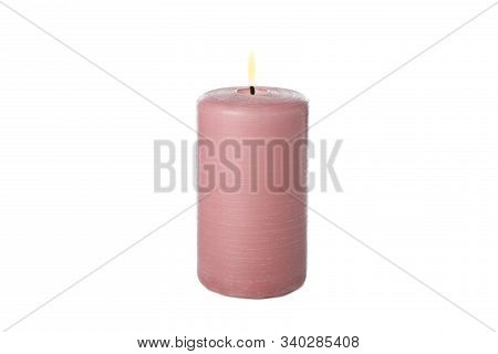 Pink Burning Candle Isolated On White Background