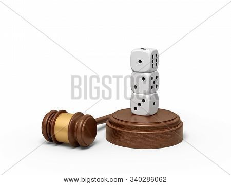 3d Rendering Of Three White Dice Standing On Top Of Each Other On Sounding Block With Gavel Lying Be