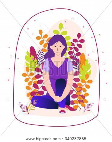 Introvert Is Sitting And Immersed In His Inner Spiritual World On A Floral Background. Transparent D