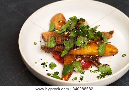 Crispy Eggplant With Tomatoes And Sweet Chili Sauce, Close-up