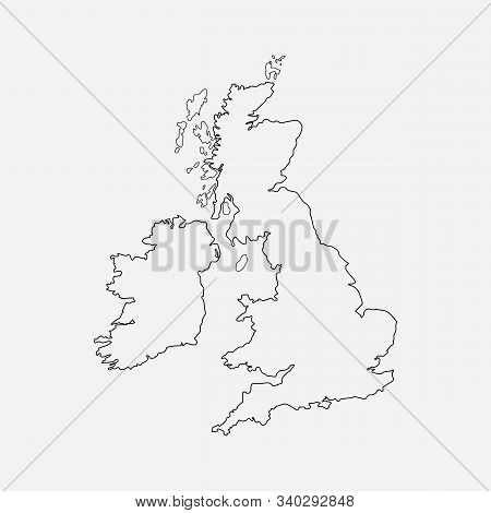 Uk Map Icon Line Element. Vector Illustration Of Uk Map Icon Line Isolated On Clean Background For Y
