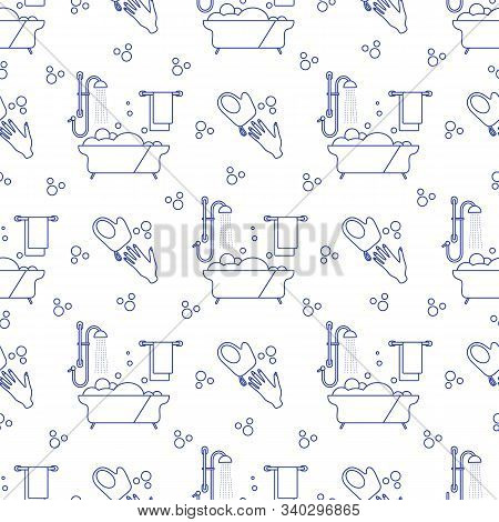 Vector Seamless Pattern Bath, Shower, Washcloth, Hand, Bubbles, Towel, Hanger On White Background. B
