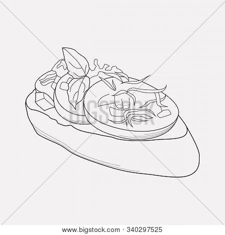 Bruschetta Icon Line Element. Vector Illustration Of Bruschetta Icon Line Isolated On Clean Backgrou