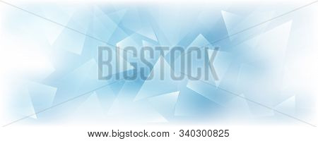 Horizontal Vector Frosted Glass Blue And White Background. Frozen Window Illustration. Abstract 3d B