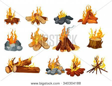 Campfire And Bonfire Vector Icons, Burning Fire On Woods And Stones. Outdoor Camping And Scout Hikin
