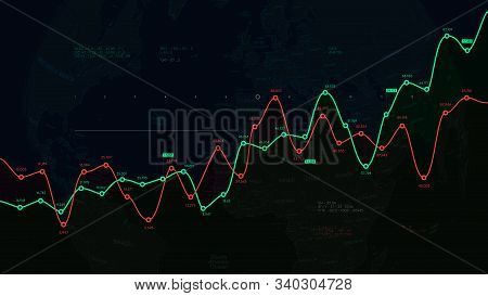 Financial Dashboard, Report From Business Analytics On The Background Of The Political World Map, Ex