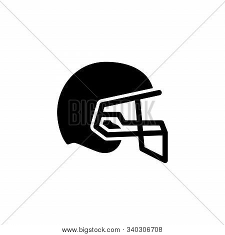 American Football Helmet Glyph Icon Isolated On White. Protective Equipment Of Player. Headgear Of Q