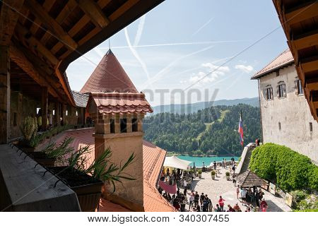 Bled, Slovenia - June 8, 2019:  View From Inside The Castle Of Bled In Tourist Season (summer)