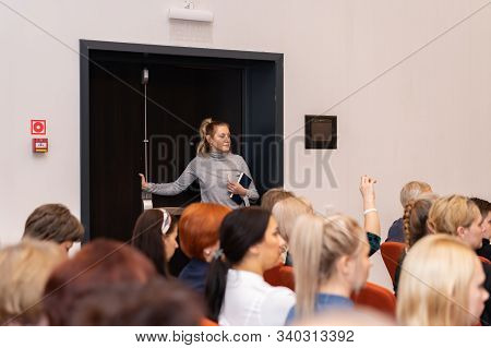 Russia, Nizhny Tagil - December 15, 2019. The Audience In The Conference Room. Business And Entrepre