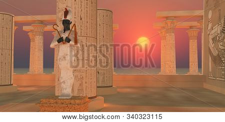 Osiris God Statue 3d Illustration - The Egyptian God Of Resurrection And The Afterlife Osiris Stands