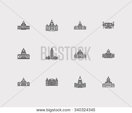 America Icons Set. Georgia State Capitol And America Icons With Louisiana State Capitol, Rhode Islan