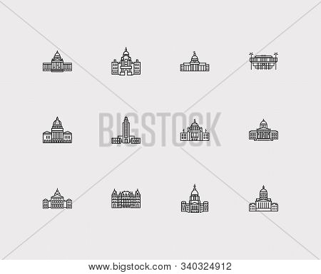 Building Icons Set. Georgia State Capitol And Building Icons With Louisiana State Capitol, Rhode Isl