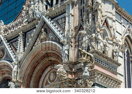 Siena Cathedral (Duomo di Siena) is a medieval church dedicated from its earliest days as a Roman Catholic Marian church, and now dedicated to the Assumption of Mary.