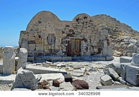 Byzantine Chapel In The Hill Top Ancient Site Of Thera On The Greek Island Santorini