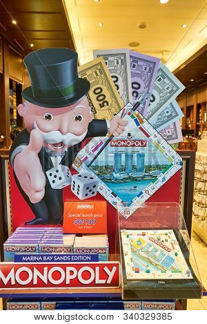 SINGAPORE - CIRCA APRIL, 2019: Monopoly Marina Bay Sands Edition on display in Singapore. Monopoly is a board game currently published by Hasbro.
