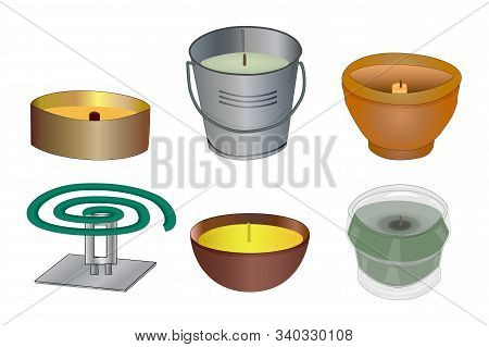 Set Mosquito Repellent Candles And Coil Isolated On White Background. Collection Citronella Candles