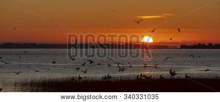 Charleston, South Carolina, United States, November 2019, Sunrise Over Charleston Harbour Bay Lookin