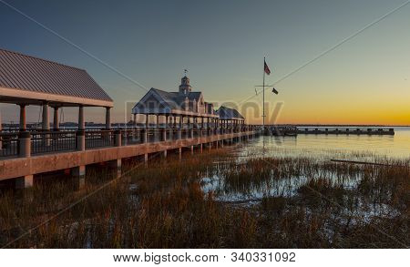 Charleston, South Carolina, United States, November 2019, Sunrise Over Charleston Harbour Bay And Th