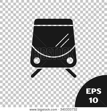 Black Tram And Railway Icon Isolated On Transparent Background. Public Transportation Symbol. Vector