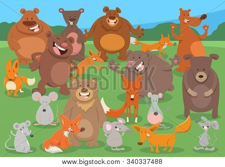 Cartoon Illustration Of Funny Wild Animals Comic Characters Group