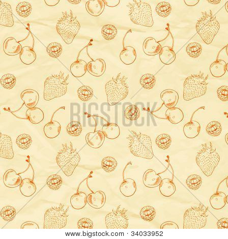 Vector Background, seamless berry ornament, old paper texture