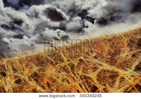 Impressionism. Painting of field of wheat. 3D rendering