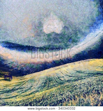 Oil painting. Horse in the field. Yellow moon rise over mountain. 3D rendering