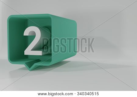 2 Number Balloon Icon. Speech Balloon 3d. Number Two. 3d Illustration. 3d Buttons With Numbers. Thre